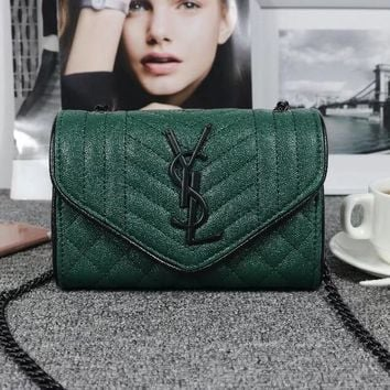 One-nice™ YSL Women Shopping Fashion Leather Chain Satchel Shoulder Bag Crossbody Green I-MYJSY-BB