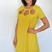 Weaved Neck Short Sleeve Dress - The Florida House Online
