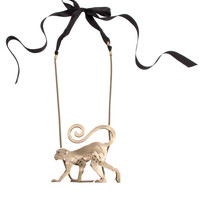 Lanvin Sherwood Short Necklace with Monkey Pendant