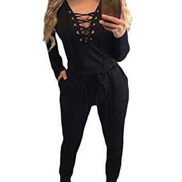 Women's Jumpsuit Romper Lace Up Long Sleeve Drawstring Jumpsuit Romper