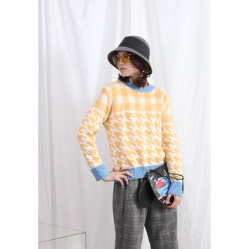 Checker Mixed Houndstooth Sweater