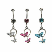 Butterfly Dangle Pendant Ball Button Barbell Bar Belly Navel Ring Body Piercing Jewelry SM6