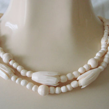 Vintage Hand Carved Bone Necklace / 37 Inch Flapper Length / Floral Beads / Round Beads / Artisan / Jewelry / Jewellery