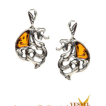 Baltic Amber Celtic Dragons Oxidized Sterling Silver Post Drop Earrings