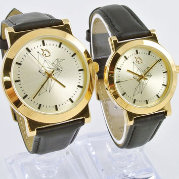[Couple Watch] Design Stylish Gold Vintage Geometric Origami Watch Leather Strap