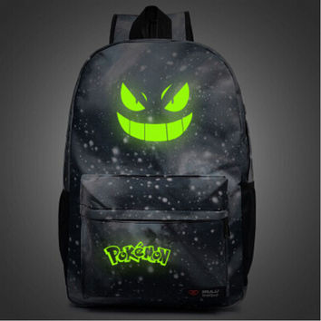 Luminous Pocket Monster Backpacks Harajuku Galaxy Pokemon Anime Canvas Students Printing School Bags Rucksack Mochila Escolar