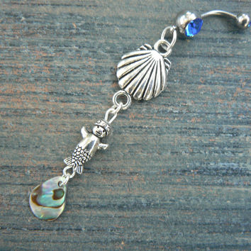 baby mermaid abalone belly ring with clam shell