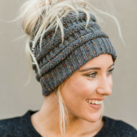 Messy Bun Confetti Knitted Beanie - Charcoal Gray
