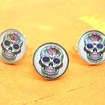 Halloween skull candy ring, skull candy jewelry, Halloween ring, skull ring, day of the dead ring, pop art ring, statement ring, skull candy