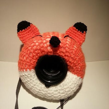 Camera Cover, Photographer Equipment, Colorful Camera Cover, Lens Buddy, Crochet Fox