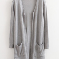 Gray Cardigan With Pockets