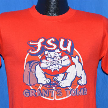80s FSU Freso State University Bulldogs Grant's Tomb College Basketball t-shirt Small