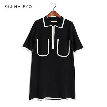 REJINAPYO Women Chic Loose Contrast Color Turn-down Collar Knit Mini Dress Short Sleeve Office Lady Elegant Knit Dress Zippers