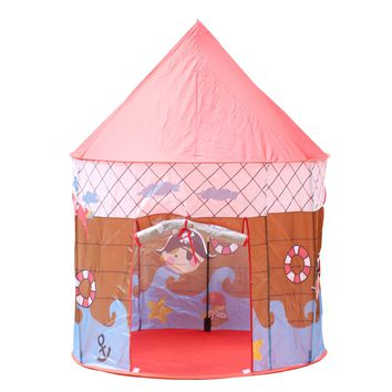 DIY Creations Play Tent Pirate Ship Boy Girl Red Roof Kids Cubby Pop Up House Indoor Outdoor Party