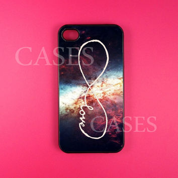 Iphone 4 Case, Infinity Love Iphone 4s Case Cover, Cute Pretty Iphone Cases, Snap On Rubber or Hard Plastic Case