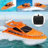 Orange Mini RC Boats Plastic Electric Remote Control Speed Boat Kid Chirdren Toy 26x7.5x9cm