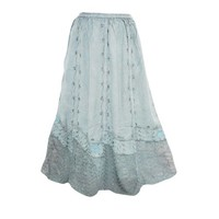 Mogul Womens Boho Style Long Skirt Medeival Blue Embroidered Enzyme Wash Gypsy Skirts S/M - Walmart.com