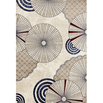 4012 Beige Red Modern Geometric Contemporary Area Rugs