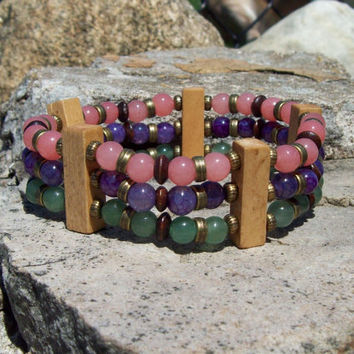 Triple Stack Beaded Bangle Bracelet - Stretch Bracelet - Bohemian Hippie Jewelry