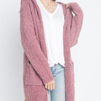 dreamers by debut - soft hooded open cardigan with pockets - rose