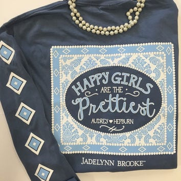 Jadelynn Brooke Happiest Girls Are The Prettiest Tee- Blue Jean