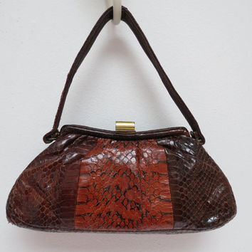 Snake Skin Purse or Handbag Two Tone Brown Soft Sided Frame
