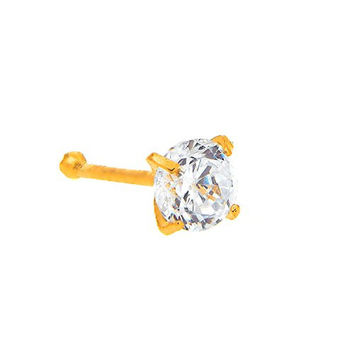 JewelStop 14K Solid Yellow Gold Nose Ring Bone CZ Prong Ring - 3mm 20 Gauge