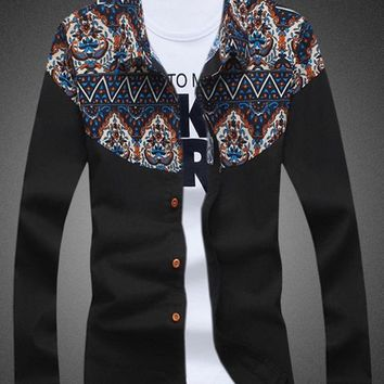 Progress Men's Tribal Paisley Panel Long Sleeve Linen Shirt