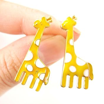 Large Giraffe Shaped Stud Earrings in Yellow with White Polka Dots