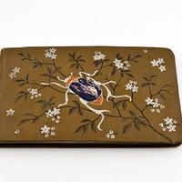 Autograph Book Brown Cover, Embossed Beetle Dated 1885 Very Good