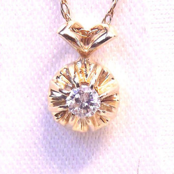 Vintage Diamond Pendant with 20 Inch Chain - 14k Yellow Gold