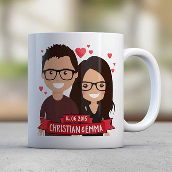 Anniversary Gift Couple Gift Coffee Mugs Cute Mugs Custom Illustration Avatar Engaged Gift Engagement Wedding Red Black