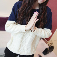 Color Block Cable Knit Long Sleeve Sweater