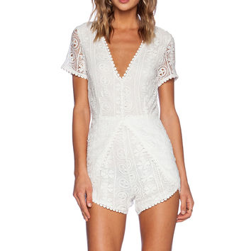 Wilde Heart Laced Up Romper in White