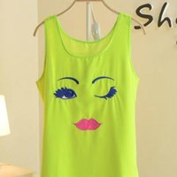 Cute Candy Colored Blink Chiffon Vest