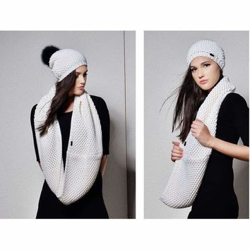 Knitted Beanie Hat and Infinity Scarf Set Real Fox Fur Pom Pom Hats