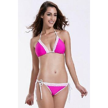 Hot Pink w/ White Lace Edge Triangle Top & Side Tie Scrunch Bottom Bikini Swimwear Set