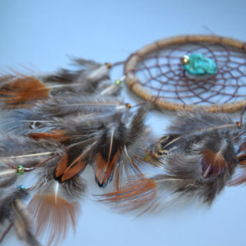 Dream Catcher Natural Feathers, Small Dream Catcher, Turquoise Stone, Rear View Mirror, Gift for Boyfriend, Car Mirror Charm, Car Accessory