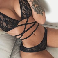 Sexy Women Underwear Set Transparent Embroidery Lace Bandage Bra Sleepwear Lingerie Set