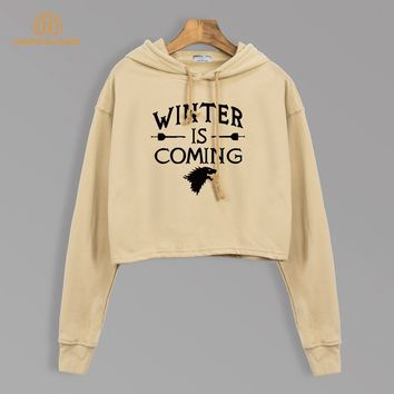 TV Show Games Of Thrones Winter Is Coming Women Short Style Sweatshirts Autumn 2018 Crop Hoodies Harajuku Long Sleeve Hooded