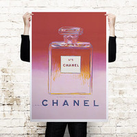 Chanel No 5 by Andy Warhol Red Oversized art print poster printed on canvas or paper