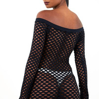 Fishnet Long Sleeve Dress Black
