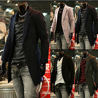 Mens Two Buttons Blazer Long Winter Coat