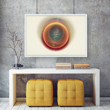 The Golden Nebula - Circle Energy Art Print | Vortex Art Print | Quirky and Unique Wall Art | Printable Galaxy Art |  Gift For Her