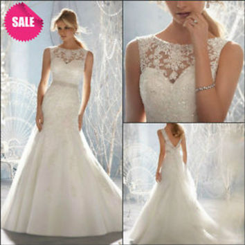 SALE Scoop Neck Lace Bodice Wedding Dresses 2016 with Sequins Bridal Gown