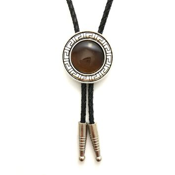 Male accessories cowboy bolo tie Black Pu leather chain with vintage pattern round metal buckle Brown stone decoration