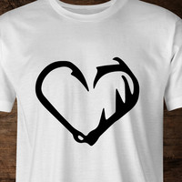 Fish Hook & Antler Heart T-Shirt