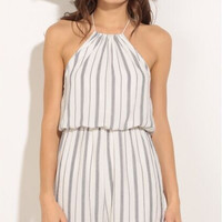 Striped Halter Neck Chiffon Romper  B007993