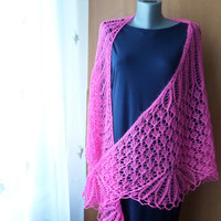 Knit Shawl Wrap Lace Shawl Mohair Lace Wrap Wedding Capelet Pink Scarf Knit Lace Shawl Lace Coverup Pink Shawl Wedding Lace Cape Soft Wrap