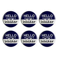 Walker Hello My Name Is Plastic Resin Button Set of 6